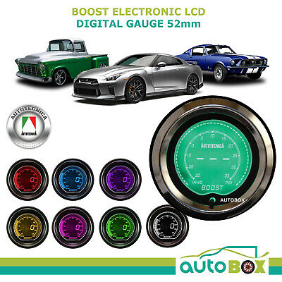 BOOST GAUGE 52mm Electronic Digital LCD Gauge by Autotecnica Turbo 7 Colour Disp