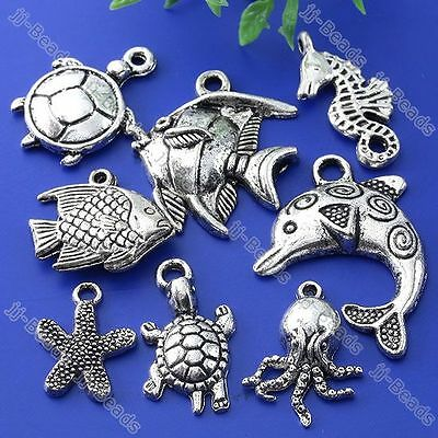 40pc Tibetan Silver Mixed Sea Ocean Animal Charm Pendant Fish Bead Finding Gift