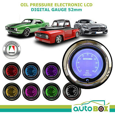 OIL PRESSURE GAUGE 52mm Electronic Digital LCD Gauge by Autotecnica 7 Colour