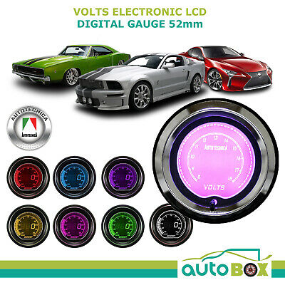 VOLTS 52mm Electronic LCD Digital Gauge by Autotecnica Turbo 7 Colour Display