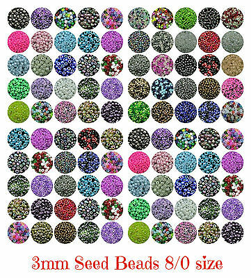 30g Pack -  Approx 3mm Size 8/0 Glass Seed Beads Jewellery Beading Craft ML