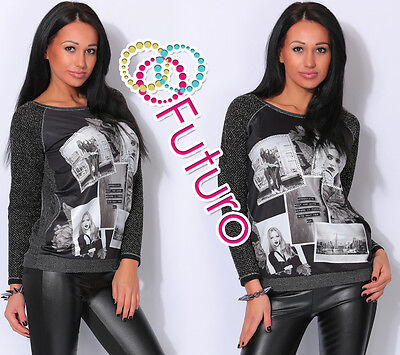 Ladies Jumper With Pockets GIRLS Print Tunic Sweat T-Shirt Top Sizes 8-14 FW76