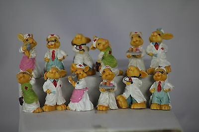Miniature Doctor & Nurse Rabbits - Set Of 12 - Little Ornaments Or For Crafters