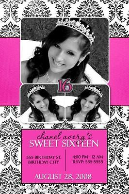 Sweet 16 Sixteen 15th Quinceanera Quincea Photo Birthday Party Invitations Cards