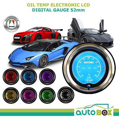 OIL TEMPERTURE 52mm Electronic Digital LCD Gauge by Autotecnica Turbo 7 Colour