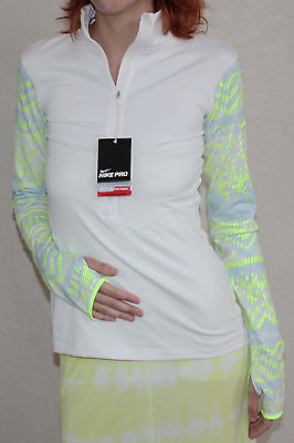 Nike Pro Hyperwarm Women's Nordic ½ Zip Cream/Volt/Blue Compression Shirt Sz S *