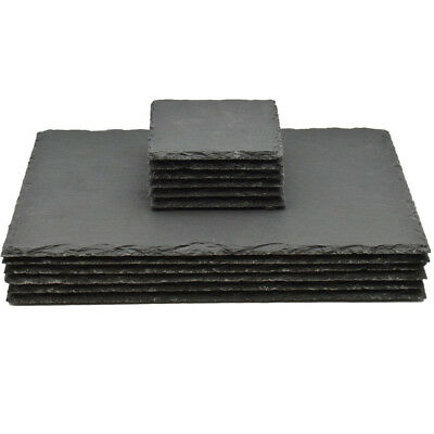 12 Piece Natural Slate Rectangle 6 Placemats & 6 Coasters Tablemat Drinks Set