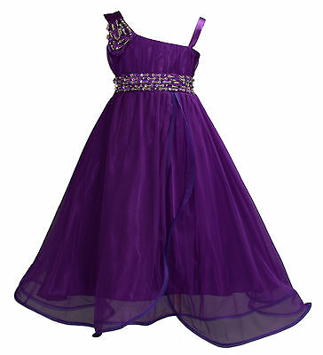 New Girls Purple Flower Girl Bridesmaid Pageant Party Dress 7-8 Years