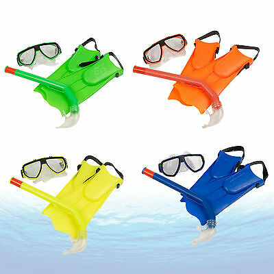 Junior Snorkel Mask & Fin Scuba Swimming Diving Snorkelling Holiday Kids Set New