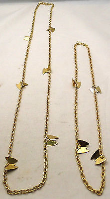 """Vintage Lot of 2 SARAH COVENTRY Butterfly Chain Necklaces 20"""" & 32"""" Gold Tone"""
