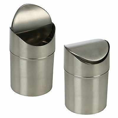 Stainless Steel 1.5L Small Recycling Bin Swing Lid Kitchen Worktop Waste Rubbish