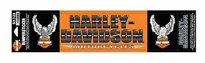 Harley-Davidson Upwing Eagle Bumper Stickers, Lg & Sm, Orange/Black BS328
