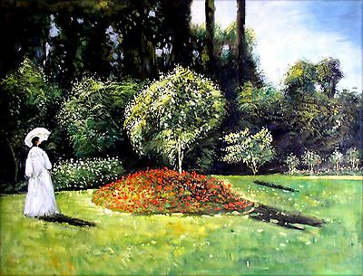 Stretched, Monet Jeanne in the Garden Repro Hand Painted Oil Painting 36x48in