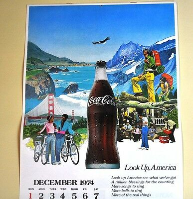 Schöner alter Coca-Cola Kalender 1975 USA Coke Calendar - Look Up, America