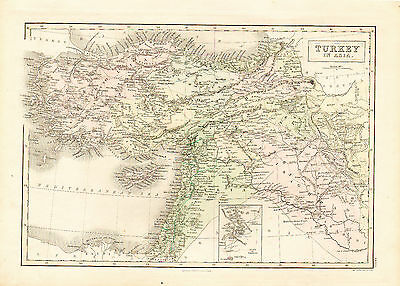 1854 Hand Colored  Province Map of TURKEY in ASIA - Inset of Babylon