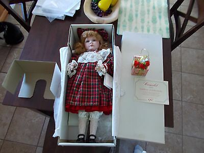 "Camelot Porcelian Dolls Holly 22"" Doll With Present & Stand In Box Qvc Special"