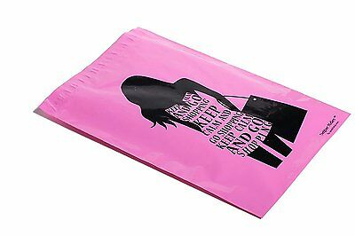50 10x13 PINK GO SHOPPING Designer Mailers Poly Shipping Envelopes Boutique Bags