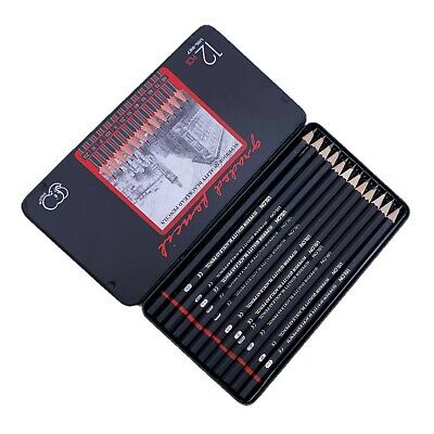 Set of 12 Ulson Graded Black Lead Pencils From 8B to 2H, sketching & draw MQ-008