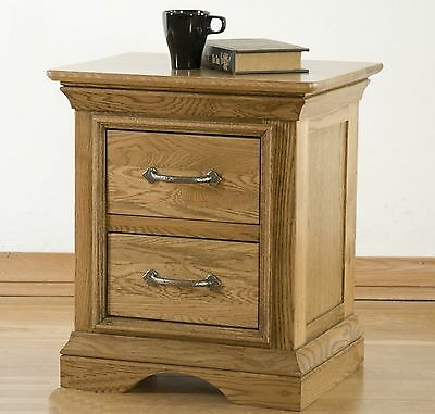 Lourdes solid oak furniture two drawer bedside cabinet stand unit
