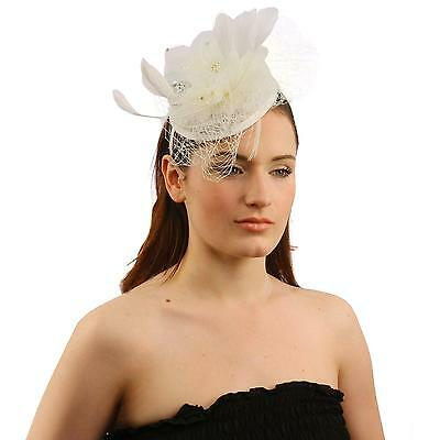 Elegant Lace Feather Jewel Headband Fascinator Millinery Cocktail Mini Hat White