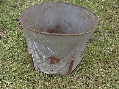An  Old Vintage Industrial   Round  Galvanised Tin Bath / Garden Planter  No 5