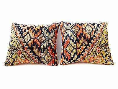 "Superb Antique Malayer Fragment rug made into a 2 Lumbar Pillows 12"" by 10"""