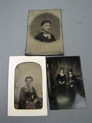 3 Antique Tintype Photographs Young Victorian Era Women in Dresses