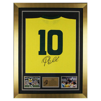 Autographed Pele Brazil Framed Shirt Jersey - Football Legend -Photo Proof & COA