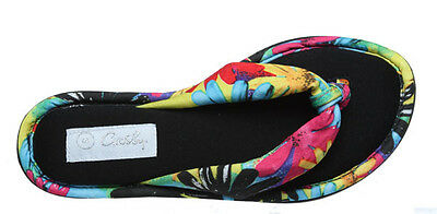 Ladies Slippers Grosby Thea Floral Memory Foam house Slipper Thong Size  S - XL