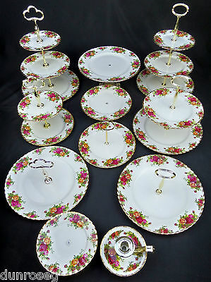 ROYAL ALBERT OLD COUNTRY ROSES CAKE /SANDWICH STANDS & COMPORTS, MADE IN ENGLAND