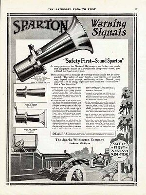 1914 Ad SPARTON Warning Signals HORNS Model D J n EB nickel SPARKS WITHINGTON Co