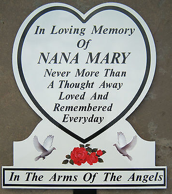 Memorial Plaque White Doves Grave Personalised Temporary Marker Headstone Heart