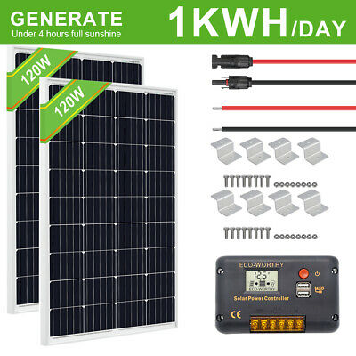 ECO 200W OFF Grid System 2*100W Solar Panel Kit & Controller for Home Boat  Power