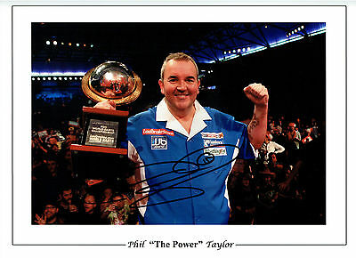 Phil TAYLOR THE POWER Signed Autograph Darts 16x12 Photo AFTAL COA