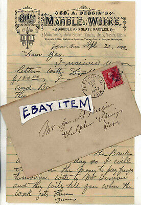 1892 letterhead JEFFERSON TEXAS ED A. BERGIN Marble Works monuments head stones