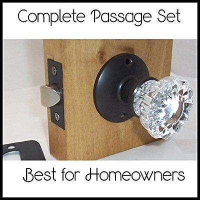 LOT of FOUR (4)Fluted Crystal Passage Door Knob Sets to fit modern doors-ORB
