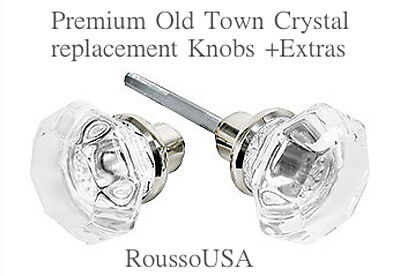 Best 24% Lead Crystal OLD TOWN Replacement Passage Door Knobs-Brushed Nickel