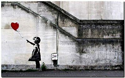 "BANKSY STREET ART CANVAS PRINT There is always hope 8""X 10"" stencil poster"