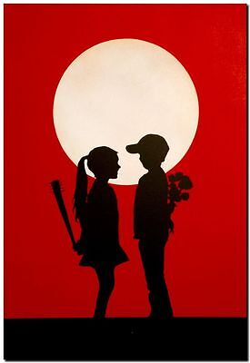 "BANKSY STREET ART CANVAS PRINT love hurts 24""X 36"" stencil poster red"