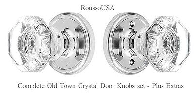24% Lead Crystal OLD TOWN Passage Door Knob Set-Extra features-Custom Orders too