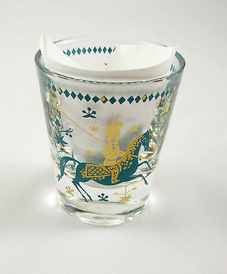 Shot Glass Vintage Blue Aqua Gold Polo Horses Game Mid Century Modern Whiskey
