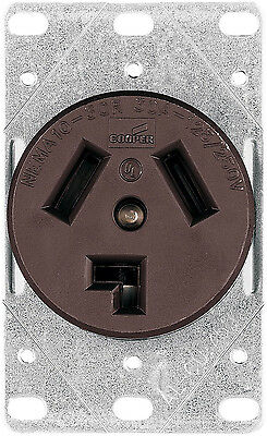 New Cooper Wiring Devices 38B-BOX 30-Amp Power Receptacle with Box, Brown *