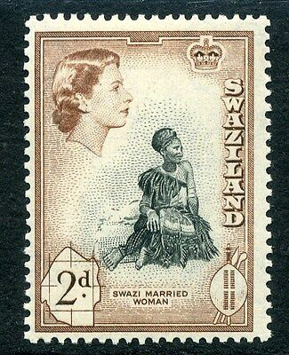 SWAZILAND;  1956 early QEII fine Mint hinged value 2d.