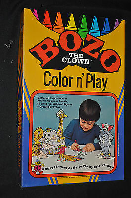 Bozo the Clown Color n' Play Set with Original Crayons - Colorforms ITB WH