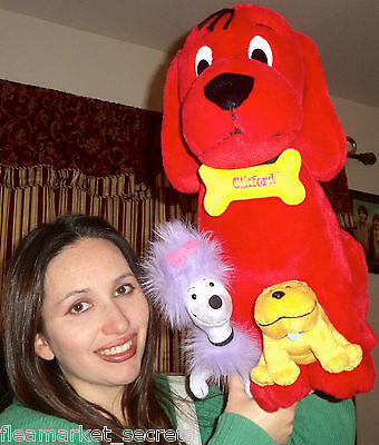 "Large Clifford The Big Red Dog With T-Bone And Cleo Plush 18"" Quality Toy Heavy"