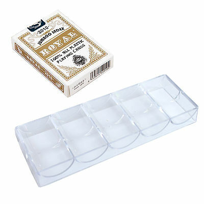 Clear Acrylic Poker Chip Rack Tray x10 + ROYAL Plastic Playing Card Gold