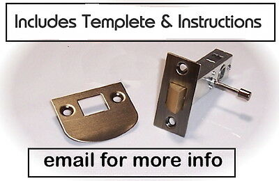Antique Brass Privacy Latch Set to fit Antique Knobs into Modern Drilled Doors
