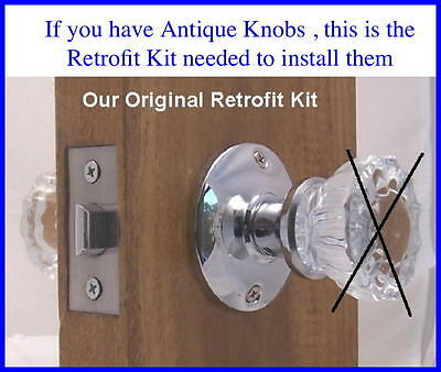 "Retrofit Kit-INSTALL YOUR ANTIQUE KNOBS in MODERN Drilled door 2-3/8"" backset"