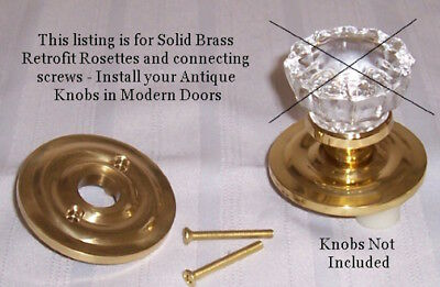 FINEST Solid Brass Retrofit Kit-Antique Knobs-Any Door