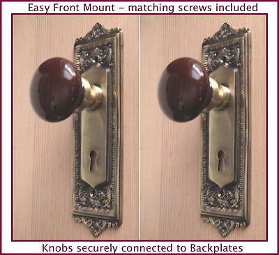 Two Estate Type Egg & Dart French Door Ceramic Porcelain  Knob-Easy Front Mount